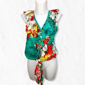 MM Couture Tie Front Ruffle V-neck Floral Blouse M